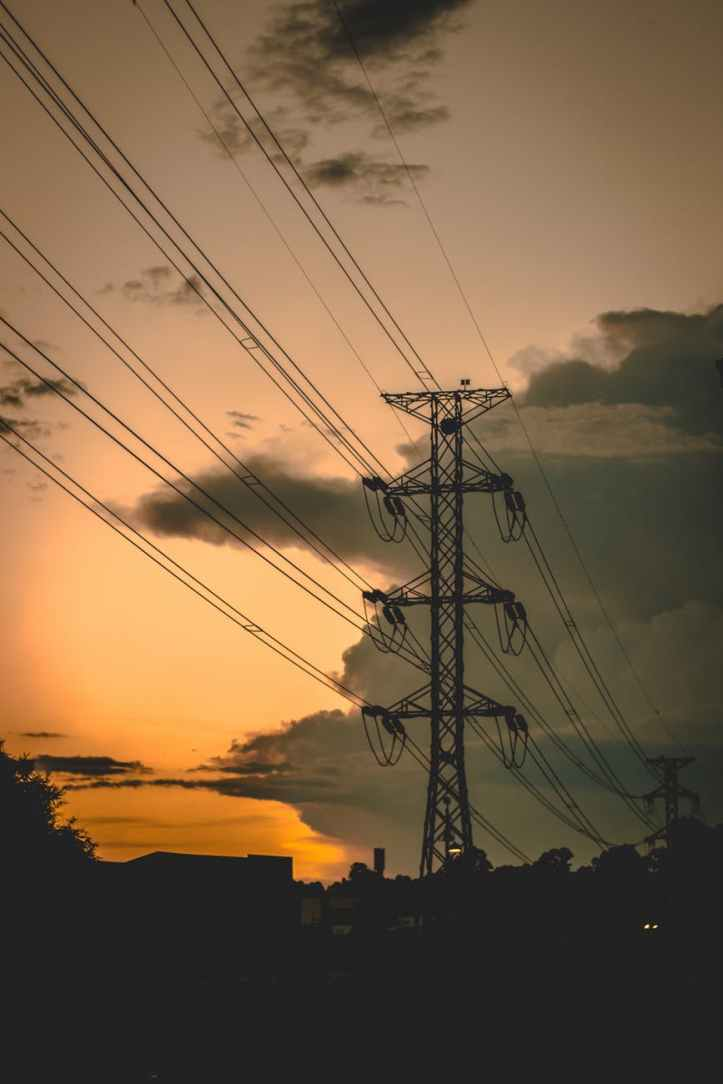 cable clouds danger dawn
