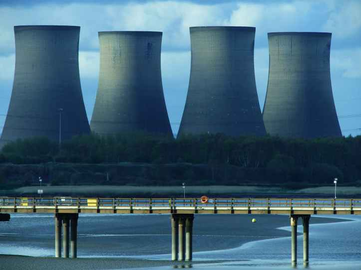 landscape photography of cooling tower