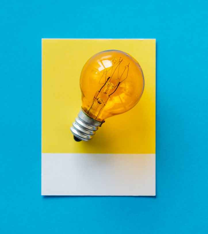 photo of yellow light bulb